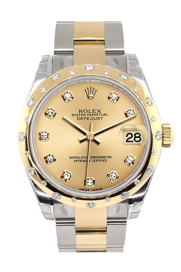 Rolex Datejust 31 Champgane Diamond Dial Diamond Bezel 18K Gold Two Tone Ladies 178343