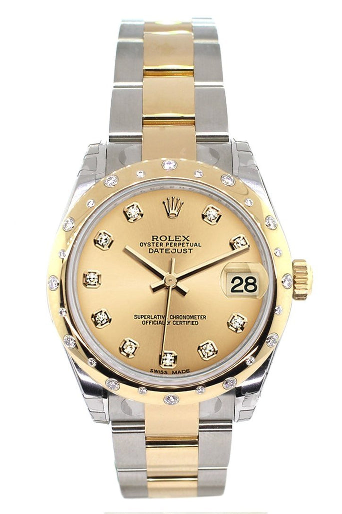 Rolex Datejust 31 Champagne Diamond Dial Bezel 18K Gold Two Tone Ladies 178343 Watch