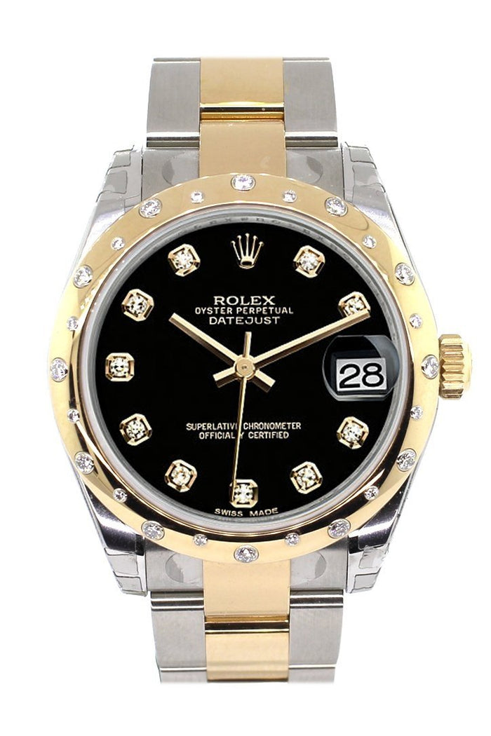 Rolex Datejust 31 Black Diamond Dial Diamond Bezel 18K Gold Two Tone Ladies 178343