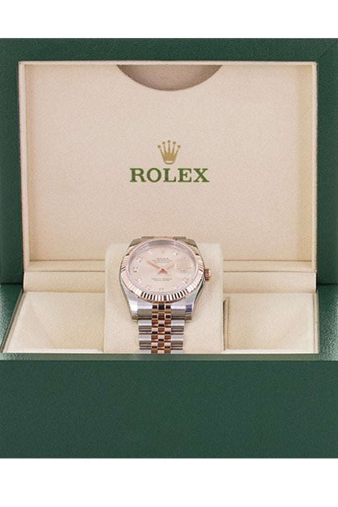 Rolex Datejust 36 Pink set with diamonds Dial Fluted Steel and 18k Rose Gold Oyster Watch 116231
