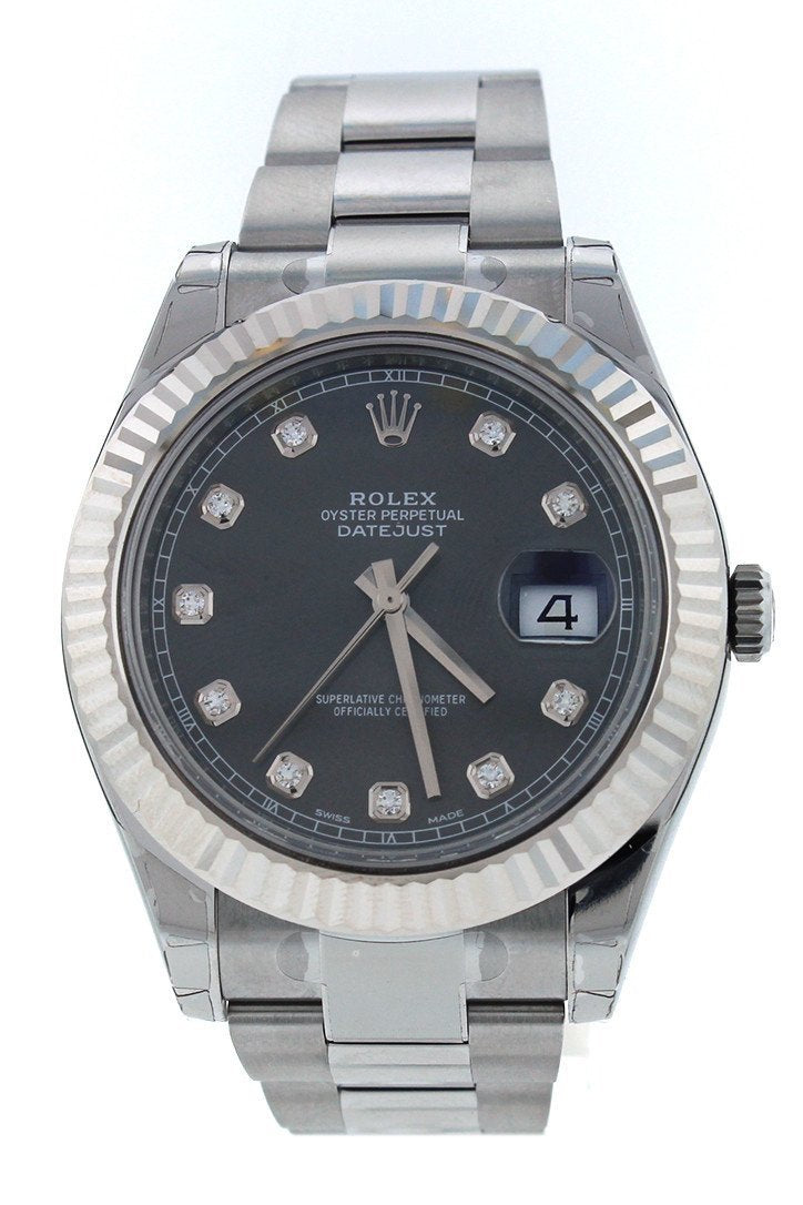 Rolex Datejust Ii 41 Rhodium Diamond Dial Mens Watch 116334