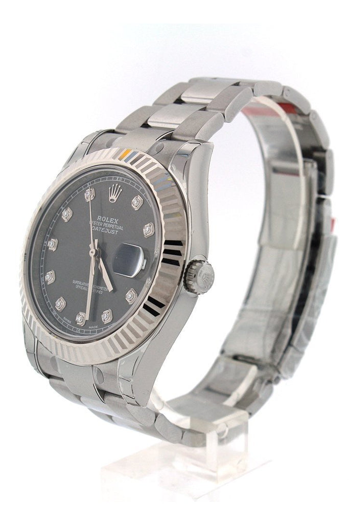 ROLEX Datejust II 41 Rhodium Diamond Dial Men's Watch 116334