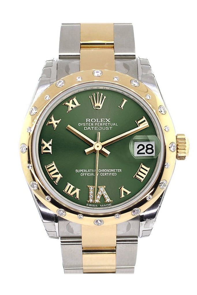Rolex Datejust 31 Olive Green Roman Large Vi Diamond Dial Fluted Bezel 18K Gold Two Tone Ladies