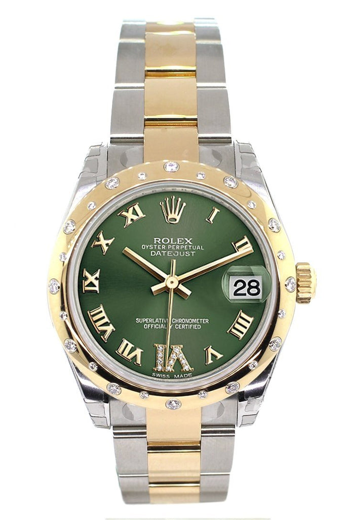 Rolex Datejust 31 Olive Green Roman Large VI Diamond Dial Fluted Bezel  18K Gold Two Tone Ladies 178343