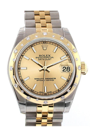 Rolex Datejust 31 Champagne Dial Diamond Bezel 18K Gold Two Tone Jubilee Ladies Watch 178343 / None