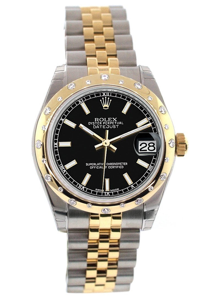 Rolex Datejust 31 Black Dial  Diamond Bezel 18K Gold Two Tone Jubilee Ladies 178343