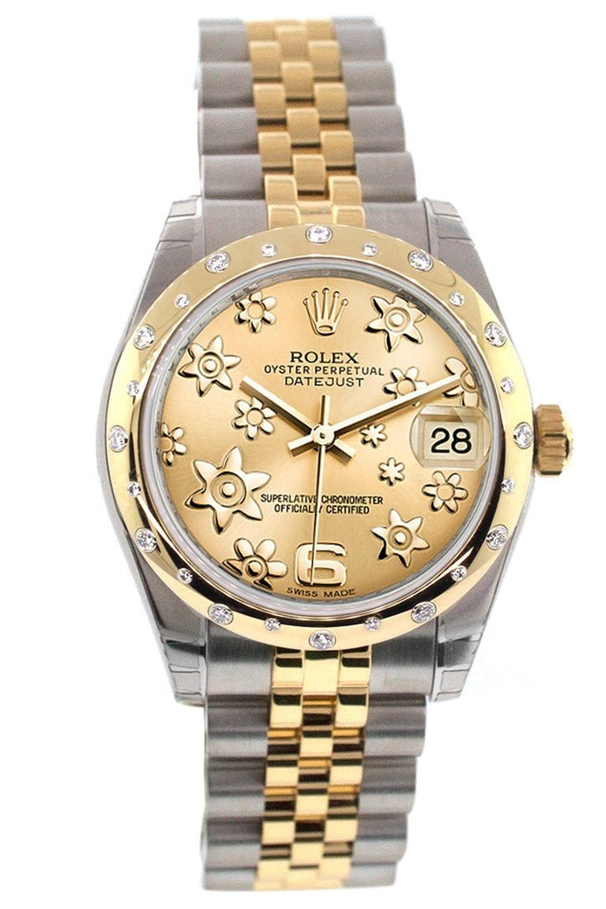 Rolex Datejust 31 Champagne Floral Motif Roamn Dial Diamond Bezel 18K Gold Two Tone Jubilee Ladies 178343