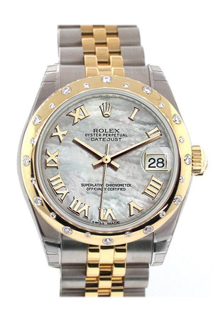 Rolex Datejust 31 Mother Of Pearl Roman Dial Diamond Bezel 18K Gold Two Tone Jubilee Ladies 178343 /