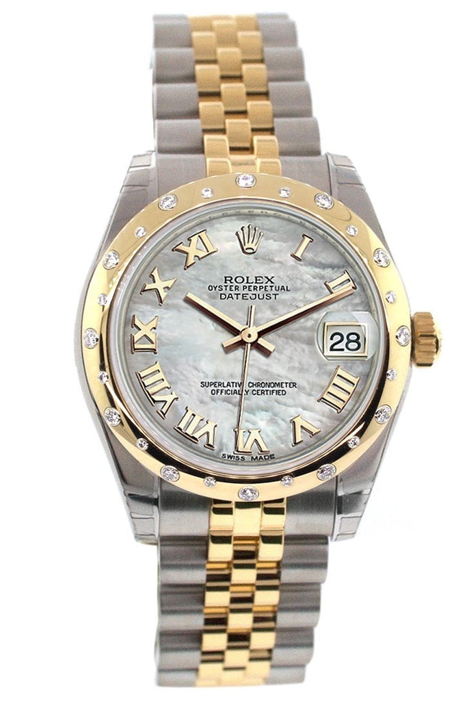 Rolex Datejust 31 Mother Of Pearl Roman Dial Diamond Bezel 18K Gold Two Tone Jubilee Ladies 178343