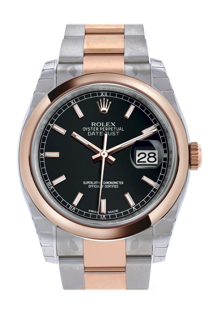 Rolex Datejust 36 Black Dial Steel and 18k Rose Gold Oyster Watch 116201