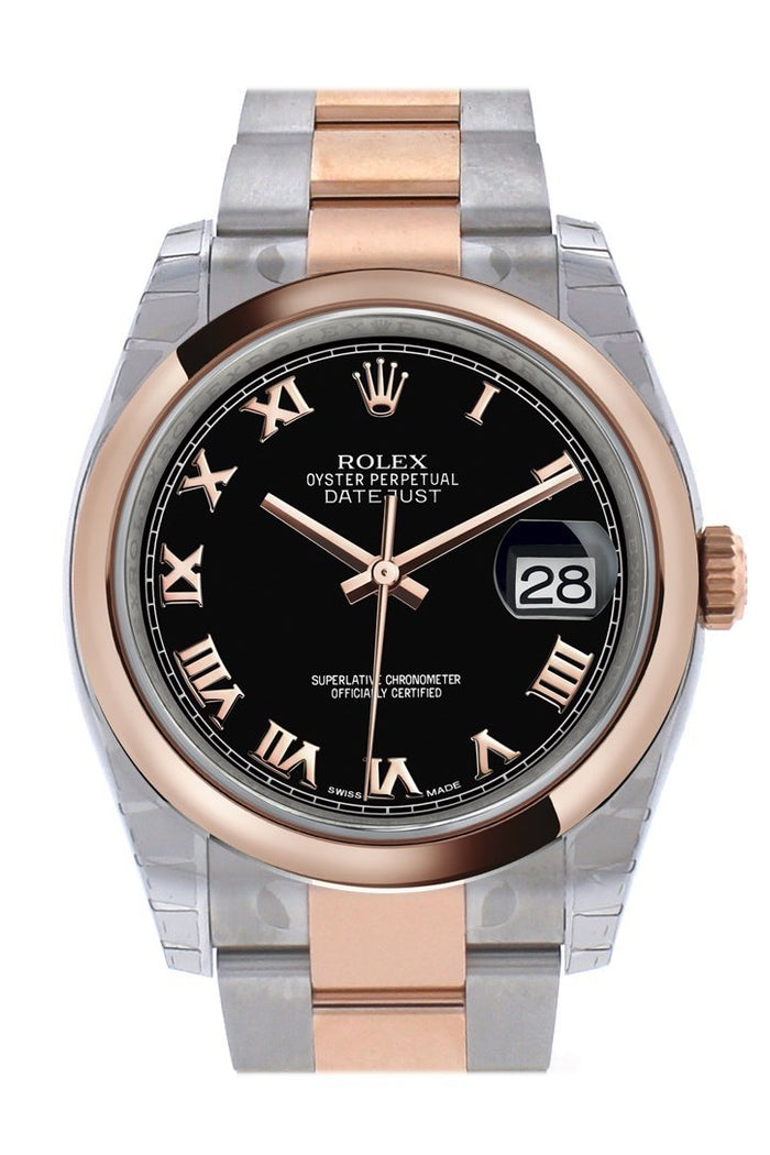Rolex Datejust 36 Black Roman DialSteel and 18k Rose Gold Oyster Watch 116201