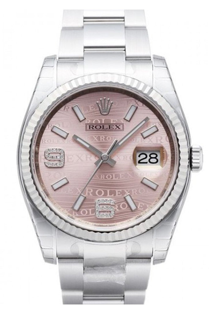 Rolex Datejust 36 Pink Waves Diamond Dial Steel And 18K Gold Ladies Watch 116234