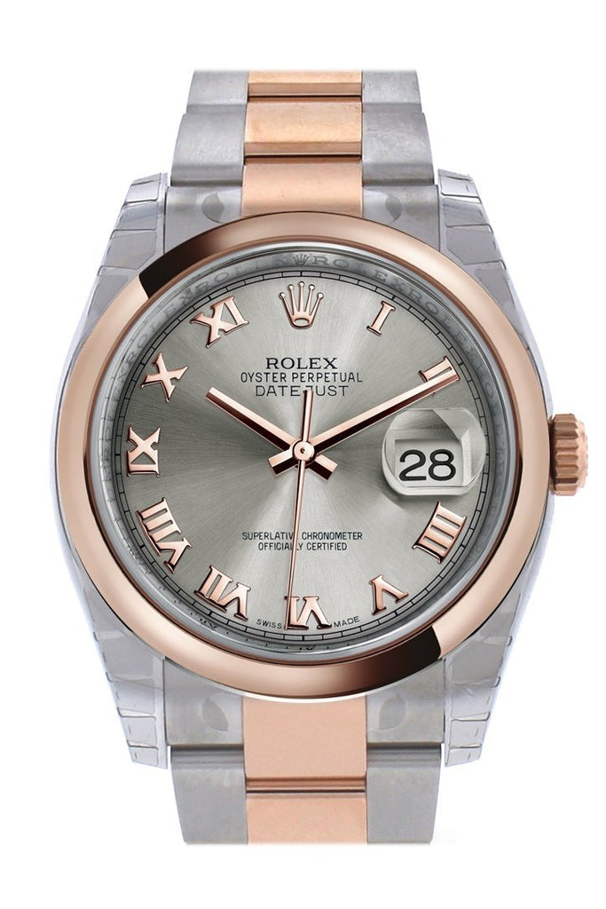 Rolex Datejust 36 Steel Roman Dialsteel And 18K Rose Gold Oyster Watch 116201 / None