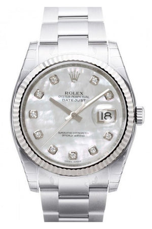 Rolex Datejust 36 White Mother Of Pearl Diamond Dial Steel And 18K Gold Ladies Watch 116234
