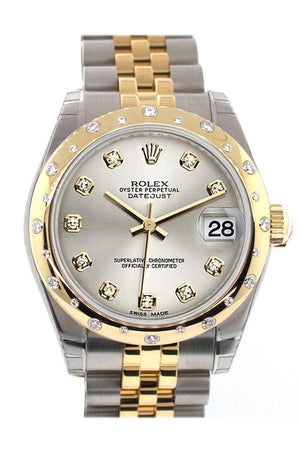Rolex Datejust 31 Silver Diamond Dial Bezel 18K Gold Two Tone Jubilee Ladies 178343 / None Watch
