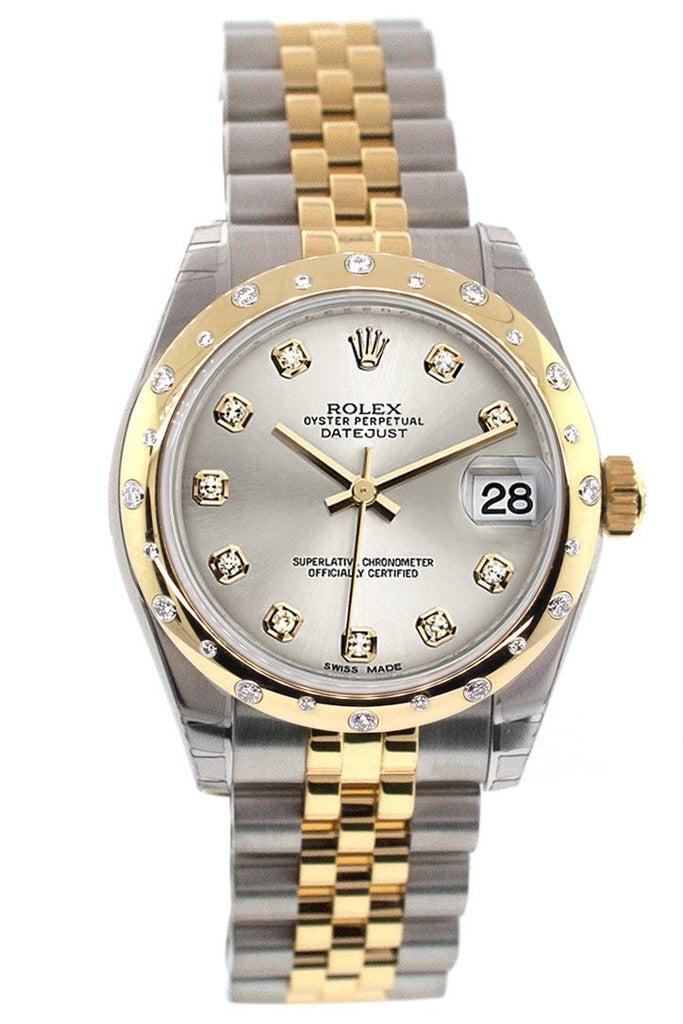 Rolex Datejust 31 Silver Diamond Dial Bezel 18K Gold Two Tone Jubilee Ladies 178343 Watch
