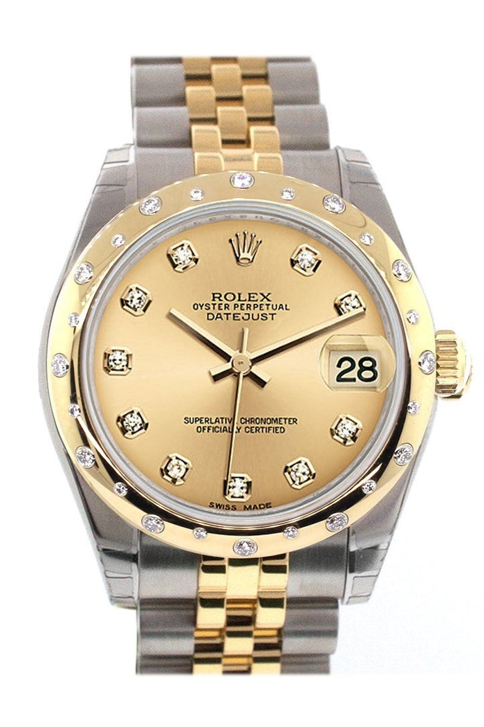 Rolex Datejust 31 Champgane Diamond Dial Diamond Bezel 18K Gold Two Tone Jubilee Ladies 178343