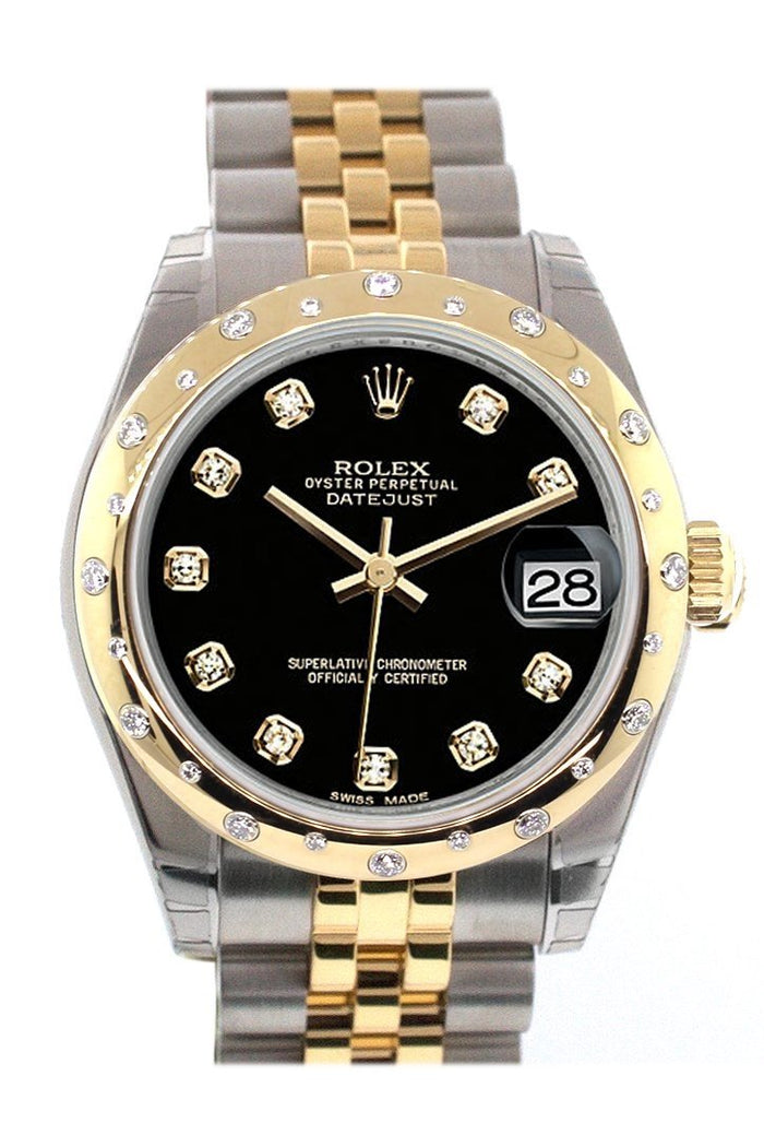 Rolex Datejust 31 Black Diamond Dial Diamond Bezel 18K Gold Two Tone Jubilee Ladies 178343