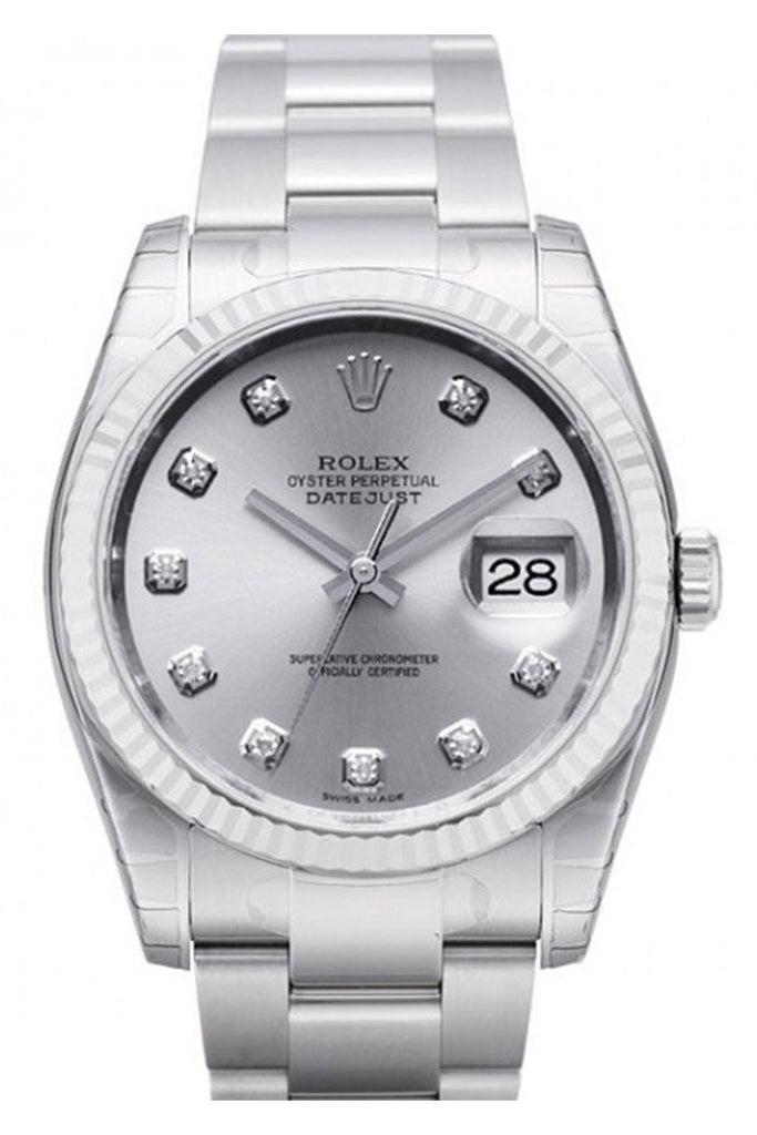 Rolex Datejust 36 Silver Diamond Dial Steel And 18K Gold Unisex Watch 116234