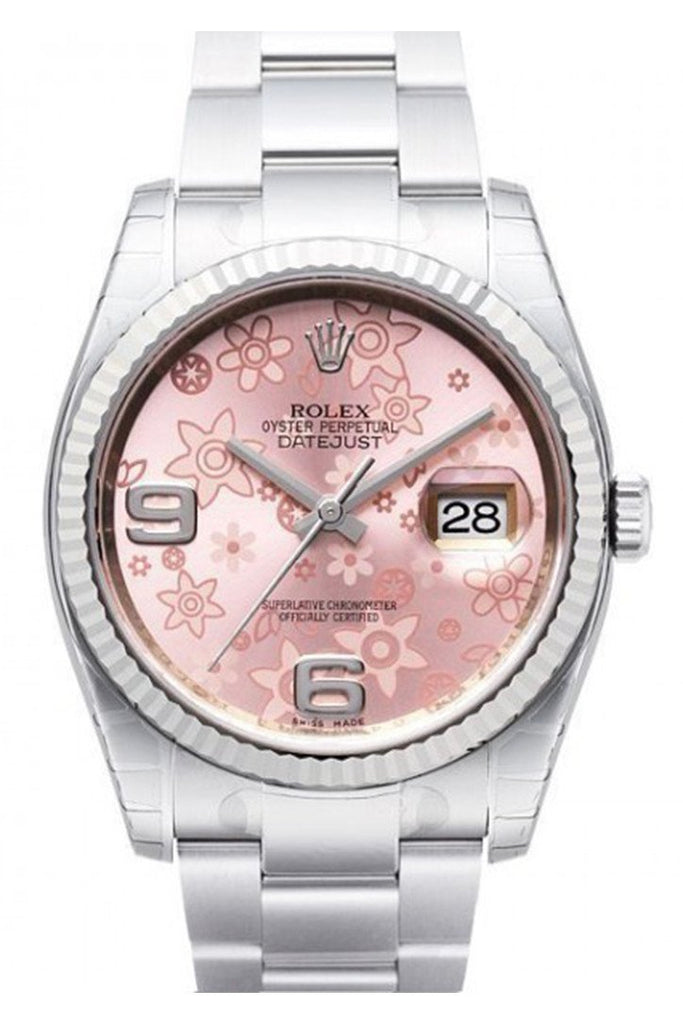 Rolex Datejust 36 Pink Floral Dial Steel And 18K Gold Ladies Watch 116234