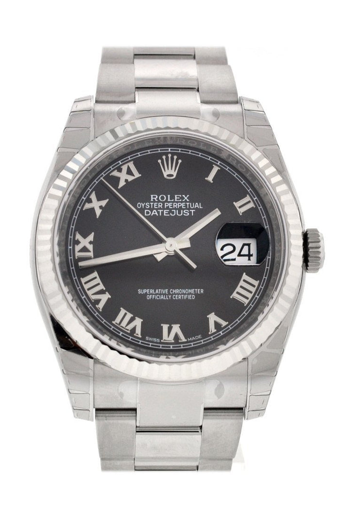 ROLEX 116234 Datejust 36 Black Roman Mens Watch | WatchGuyNYC