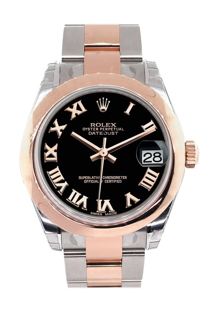 Rolex Datejust 31 Black Roman Dial 18K Rose Gold Two Tone Ladies Watch 178241