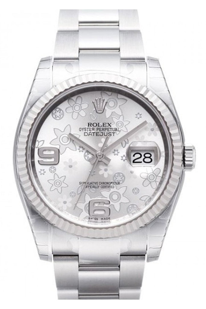 Rolex Datejust 36 Silver Floral Dial Steel 18K Gold Ladies Watch 116234
