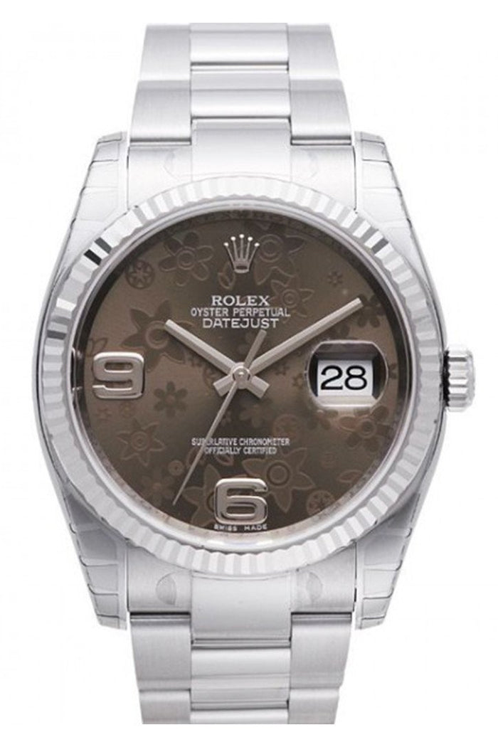 ROLEX 116234 Datejust 36 Bronze Floral Mens Watch | WatchGuyNYC