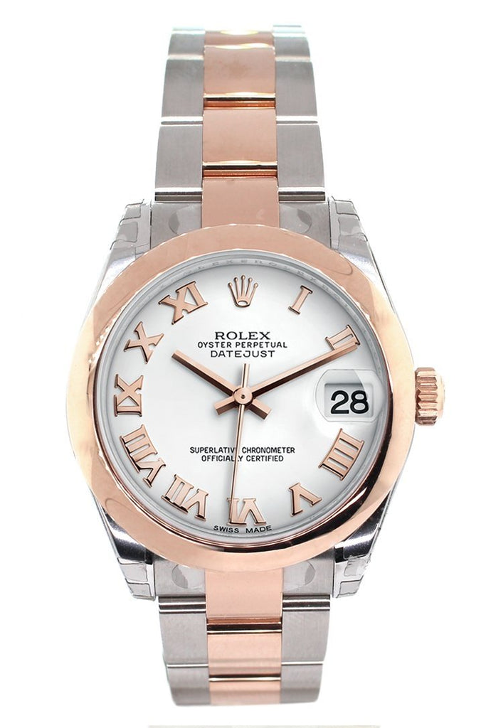 Rolex Datejust 31 White Roman Dial 18K Rose Gold Two Tone Ladies Watch 178241