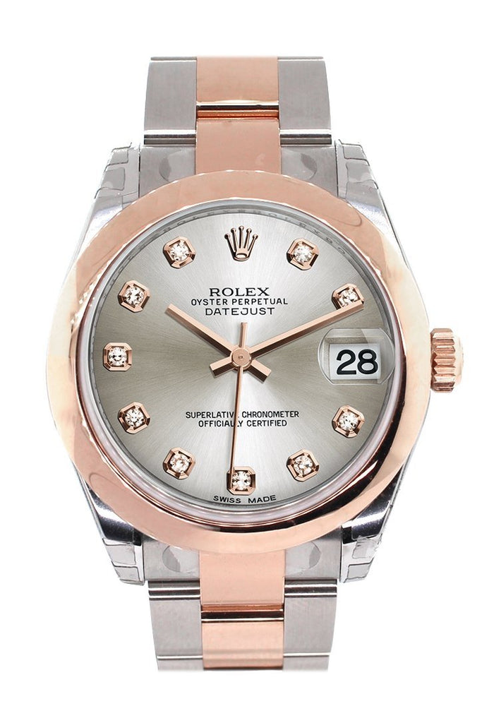 Rolex Datejust 31 Silver Diamond Dial 18K Rose Gold Two Tone Ladies Watch 178241 / None