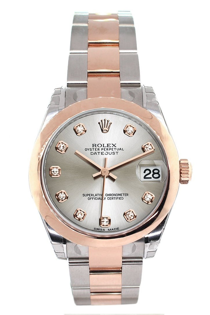 Rolex Datejust 31 Silver Diamond Dial 18K Rose Gold Two Tone Ladies Watch 178241