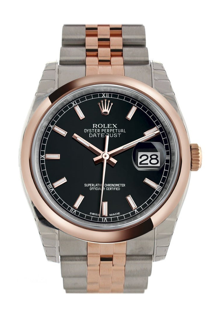 Rolex Datejust 36 Black Dial Steel and 18k Rose Gold Jubilee Watch 116201