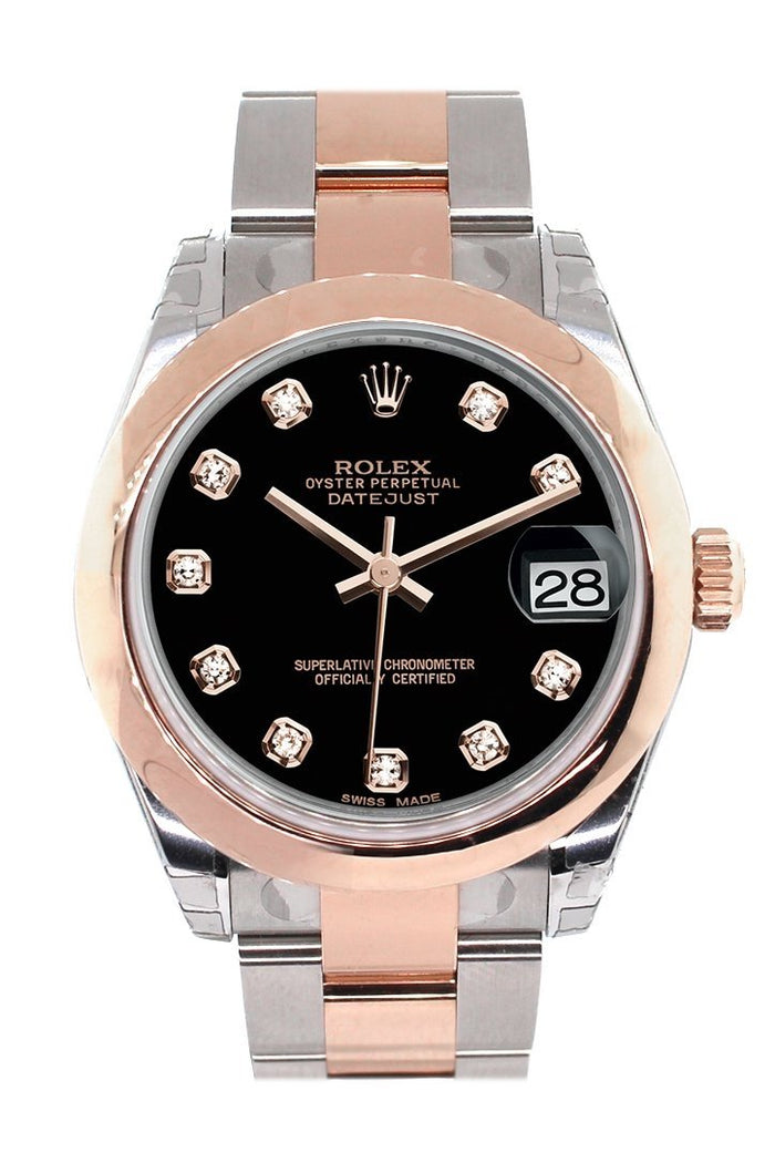 Rolex Datejust 31 Black Diamond Dial 18K Rose Gold Two Tone Ladies Watch 178241
