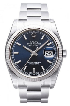 Rolex Datejust 36 Blue Dial Gold Bezel Steel And 18K Mens Watch 116234