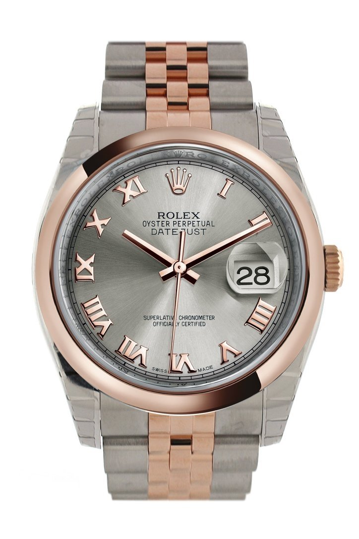 Rolex Datejust 36 Steel Roman Dial And 18K Rose Gold Jubilee Watch 116201 / None
