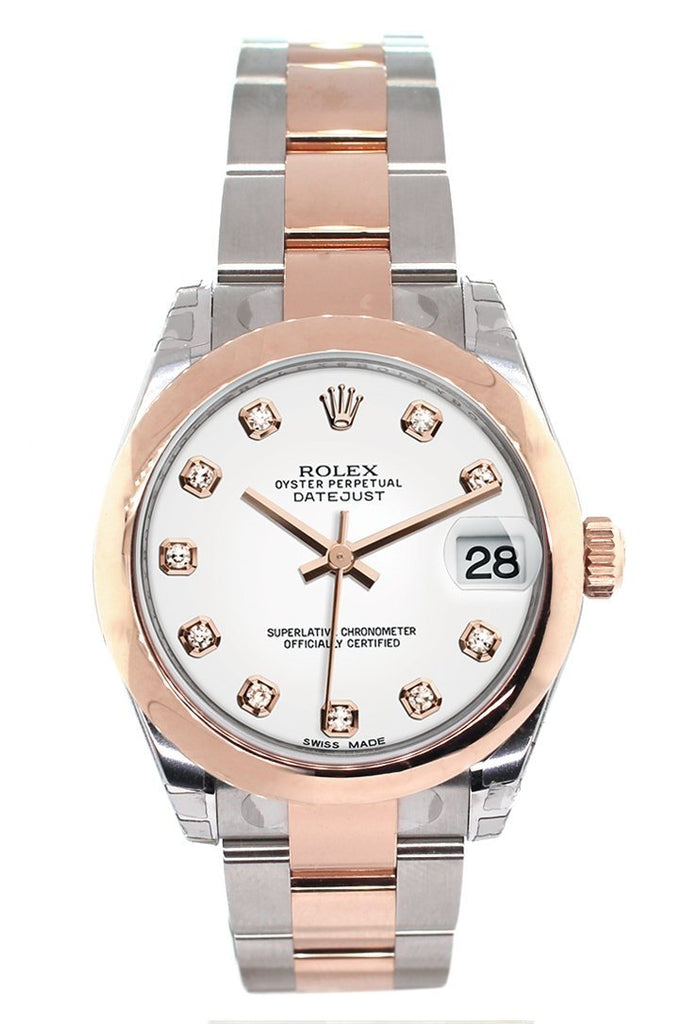 Rolex Datejust 31 White Diamond Dial 18K Rose Gold Two Tone Ladies Watch 178241