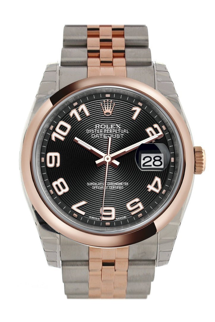 Rolex Datejust 36 Black Arab Dial Steel and 18k Rose Gold Jubilee Watch 116201