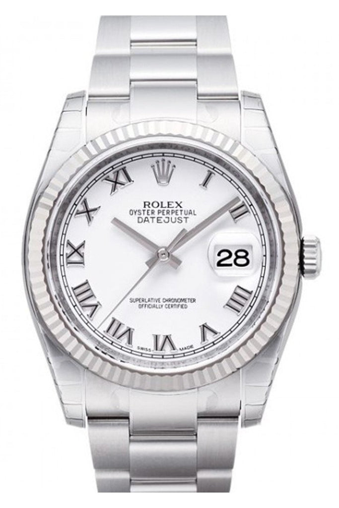 Rolex Datejust 36 White Roman Dial Steel And 18K Gold Unisex Watch 116234