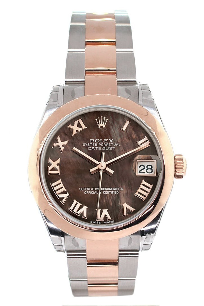 Rolex Datejust 31 Black Mother of Pearl Roman Dial 18K Rose Gold Two Tone Ladies Watch 178241