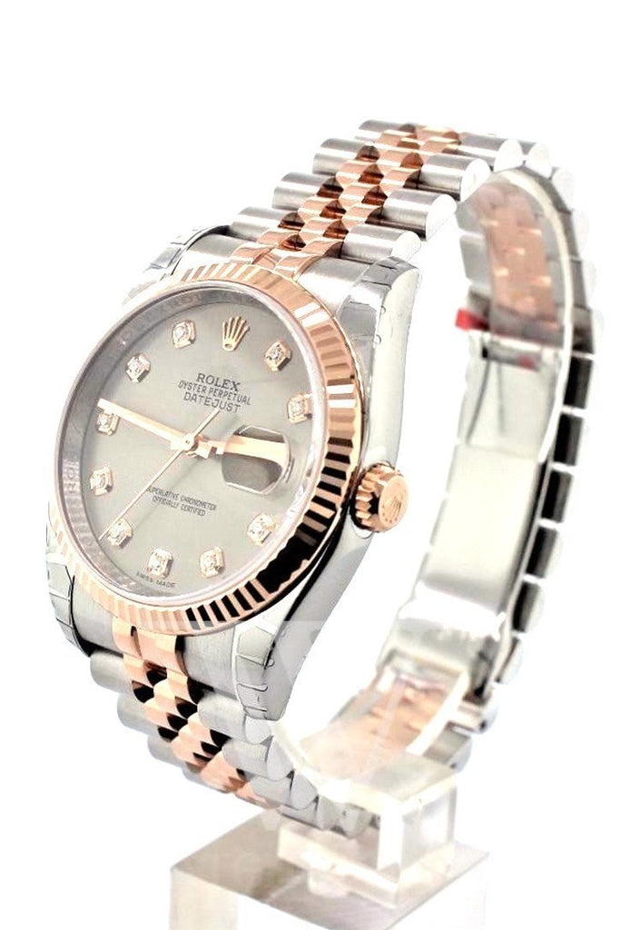 Rolex Datejust 36 Steel set with diamonds Dial Fluted Steel and 18k Rose Gold Jubilee Watch 116231