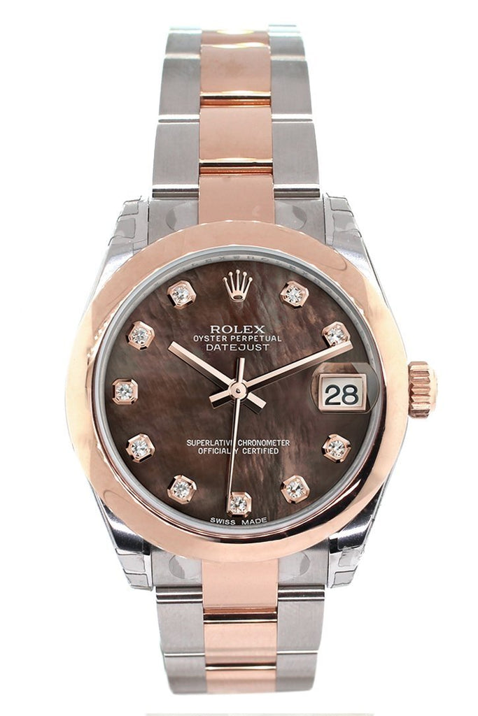 Rolex Datejust 31 Black Mother of Pearl Diamond Dial 18K Rose Gold Two Tone Ladies Watch 178241