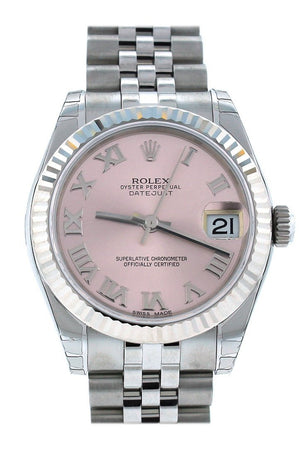 Rolex Datejust 31 Pink Dial White Gold Fluted Bezel Jubilee Ladies Watch 178274 / None