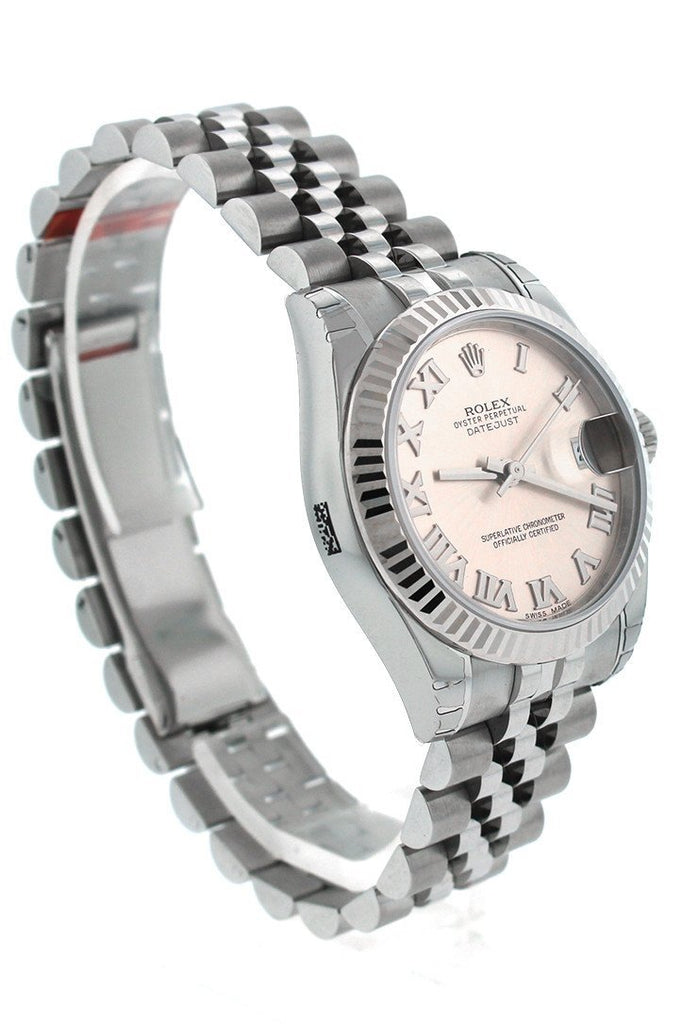 Rolex Datejust 31 Pink Dial White Gold Fluted Bezel Jubilee Ladies Watch 178274
