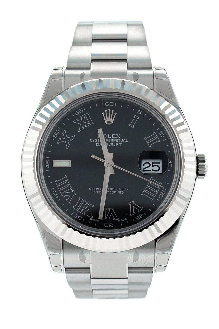 Rolex Datejust Ii 41 Black Dial 18Kt White Gold Fluted Bezel Mens Watch 116334