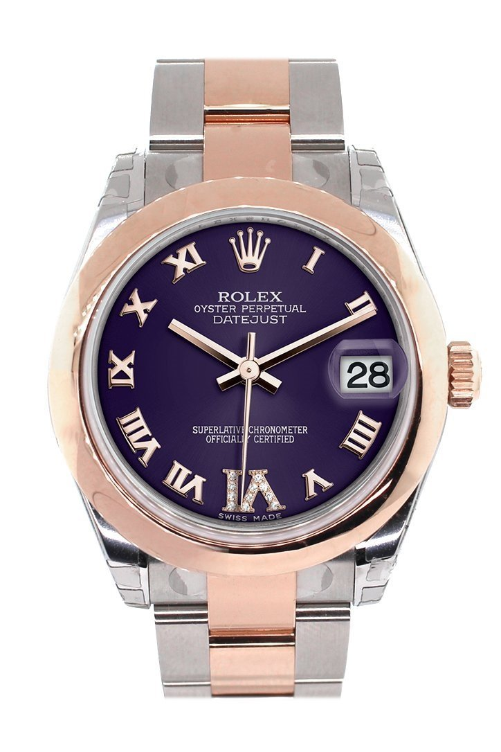 Rolex Datejust 31 Purple Roman Large Vi Set With Diamond Dial 18K Rose Gold Two Tone Ladies Watch