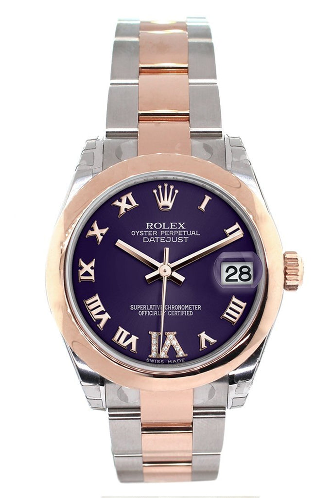 Rolex Datejust 31 Purple Roman Large VI set with Diamond Dial 18K Rose Gold Two Tone Ladies Watch 178241