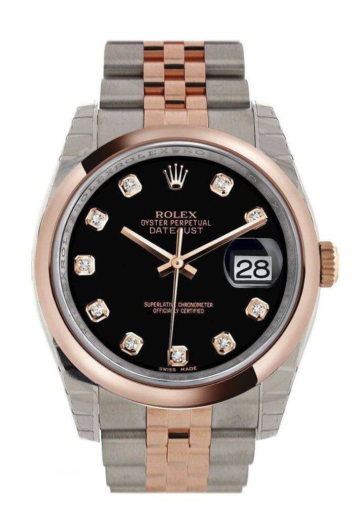Rolex Datejust 36 Black set with diamonds Dial Steel and 18k Rose Gold Jubilee Watch 116201
