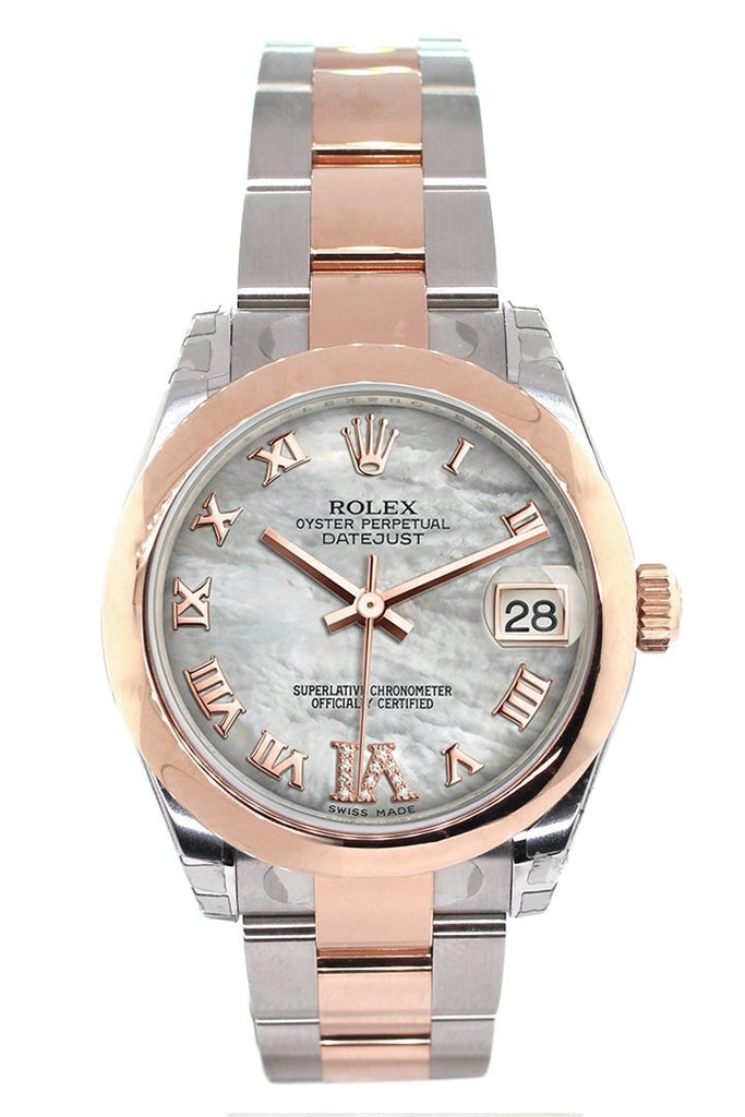 Rolex Datejust 31 White Mother of Pearl Roman Large VI set with Diamond Dial 18K Rose Gold Two Tone Ladies Watch178241