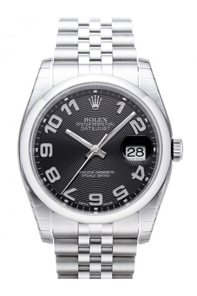 Rolex Datejust 36 Black Concentric Dial Stainless Steel Jubilee Mens Watch 116200 / None