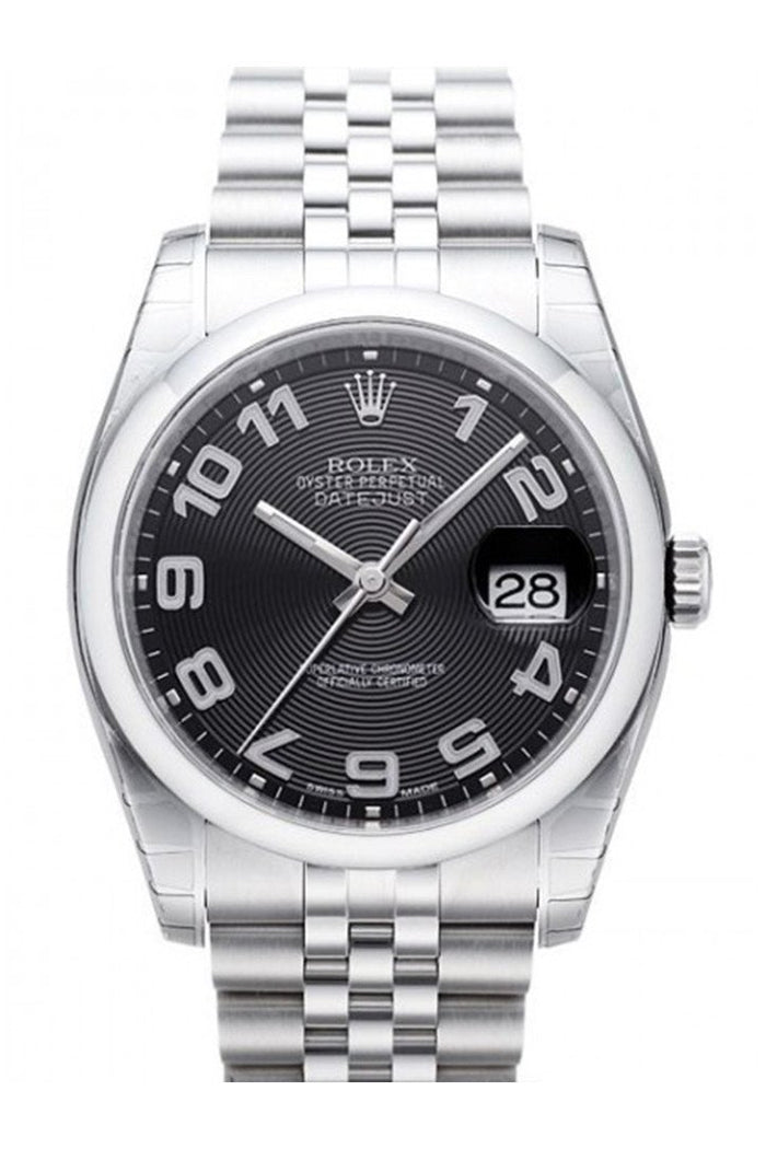 Rolex Datejust 36 Black Concentric Dial Stainless Steel Jubilee Men's Watch 116200